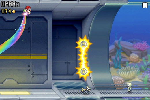 Jetpack Joyride offers a lot of customization of your character and your jetpack!  I'm using a rainbow jetpack.