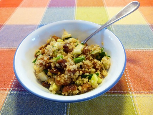 A tasty lunch with day old quinoa salad.