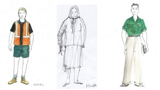The rendering of designs reveals the costume designer's drawing style.