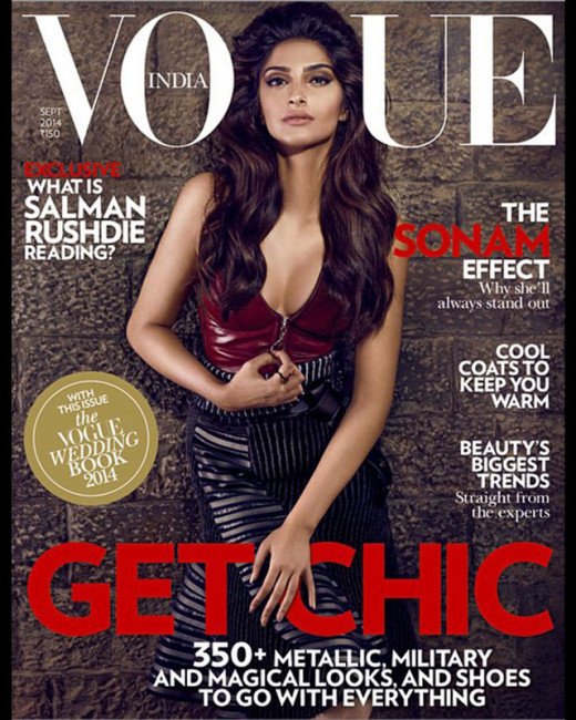 Bollywood fashionista Sonam Kapoor looked hot and gorgeous as the cover girl of Vogue India Magazine's September edition. Also have a look at the Disney photoshoot of this diva. View more photos on Biscoot Showtym.