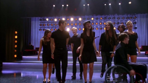 Glee cast performing Adele's Chasing Pavements in one of their episodes