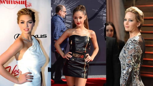 Victims of Hollywood's recent photo hacking scandal. (L to R) Kate Upton, Ariana Grande, and Jennifer Lawrence are among the celebrities whose photos were allegedly hacked and leaked.