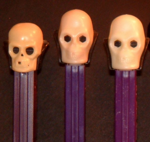 The Halloween skull has slowly gotten less detailed and less angular. My oldest skeleton is the smallest one on the far left in the picture.  There are even more skeleton designs available. Some of the more recent include a glow-in-the-dark skull and