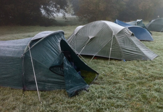 frost covered tents