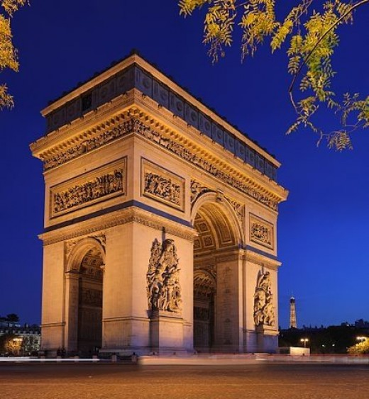 The Arc de Triomphe (Arch of Triumph), at the center of the place Charles de Gaulle, by Benh LIEU SONG, and licensed under CC BY-SA 3.0