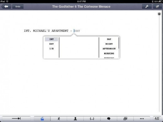 final draft writer ipad app - screenshot