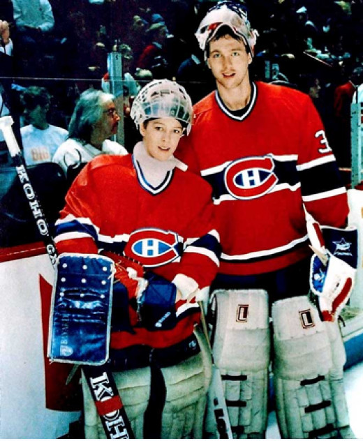 A young Giguère with Patrick Roy