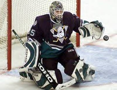 Giguère with the Ducks