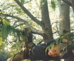 Jason hanging from his special tree.
