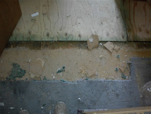 This shows the gap between the new wood and old floorboards. They will be filling this before the end of the day.