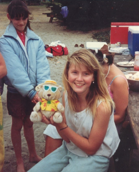 Sarah at the 1987 combined birthday party at the beach.