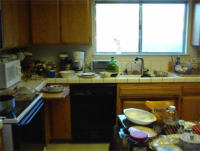 This is the kitchen after everybody is gone. I'm too tired tonight. I will face the clean-up later on.