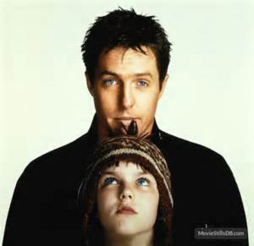 "Hugh Grant and Hoult in ""About a Boy"""