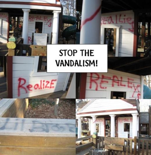 Vandalism at Barrett's Place Playground