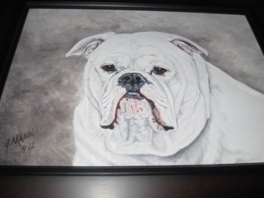 painting of Bruno the Bulldog