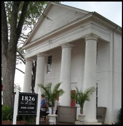 The restaurant 1826 On The Green is located in the old Farmer's Hall building on the square in Pendleton.