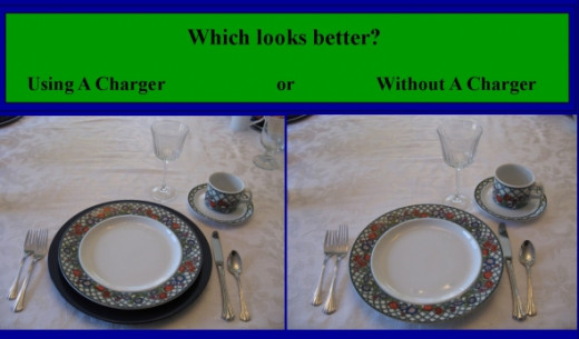 Does This Table Setting Look Better With Or Without The Charger? - Some think they make a big difference but others do not.