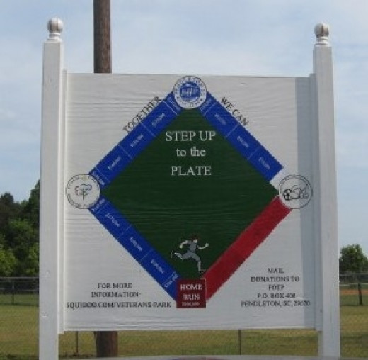 Step Up To The Plate donations sign for Veterans Park