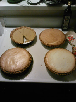 Pie shown with and without meringue topping.
