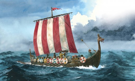 A fine painting of a Viking age ship that could pass for  Hunding's far-ranging ship 'Braending's Slange'