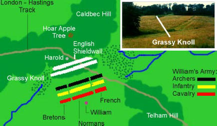 The battle, geography and positioning of the opposing armies in the small valley between Caldbec Hill and Telham Hill near Hastingsaldbec