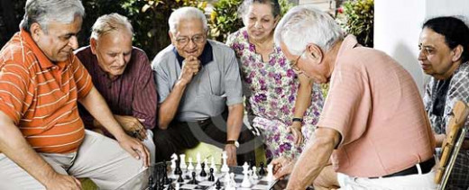 A snap from the famous Bollywood movie, 'Lage Raho Munna Bhai' depicting a happy old age home.