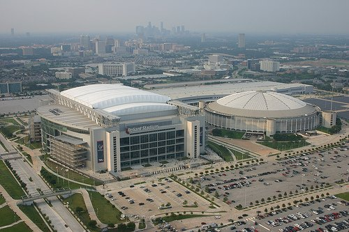 The Astrodome next to Reliant Stadium, where the Houston Texans now hold their games.
