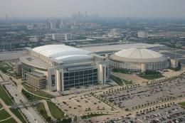 The Astrodome next to Reliant Stadium, where the Houston Texans now hold their games.