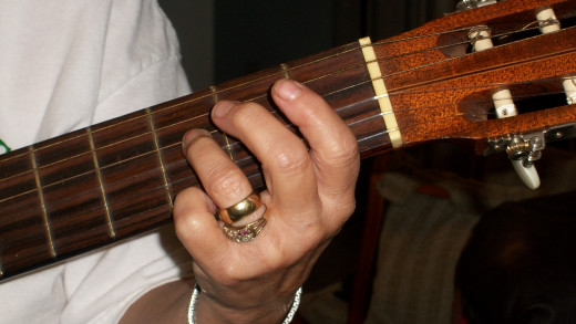 Note F on the 4th string 3rd fret 3rd finger.