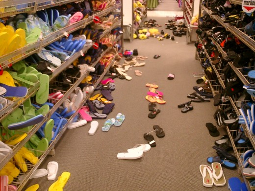 A photo taken by an employee of the shoe department in a Target in Nashville, Tennessee.