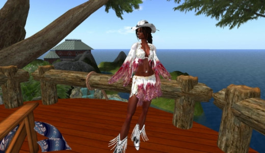 "On my Deck of my Tree House! Omg..This treehouse is so cool.  It's ""fully modifiable"" so I was able to do a lot of ""re-texturing"" to it..the color of the wood decking, paneling, all the windows came stock with what looked like curtains painted on the"