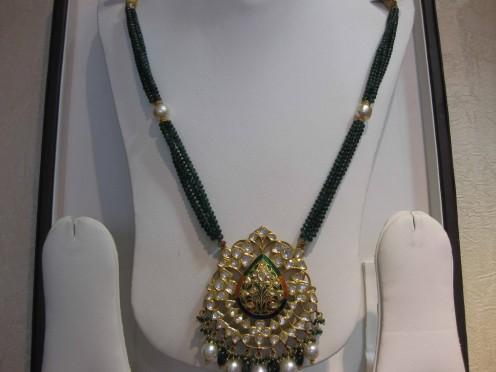 Kundan Meena Jadau Pendant with Precious Stones Beads