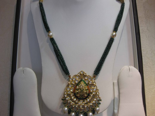 Kundan Meena Jadau pendant beaded  with emerald beads.