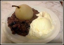 Chocolate rice pudding with ice cream