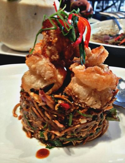 Thai Prawn Noodle Stack that we ate at Spice I Am restaurant in Sydney
