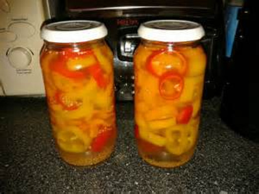This simple blog is one of my favorites to read--and as his pickled peppers look prettier than mine, I included his picture :-).