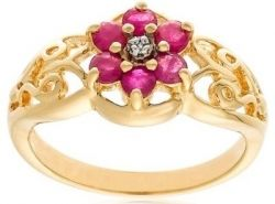 18k Yellow Gold Plated Sterling Silver Diamond-Accent and Ruby Flower Ring, Size 7