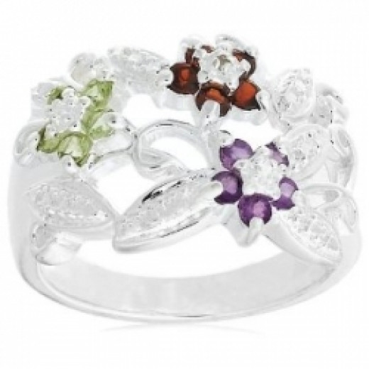 Sterling Silver Garnet, Amethyst and Peridot Flower Ring with Diamond-Accent, Size 5