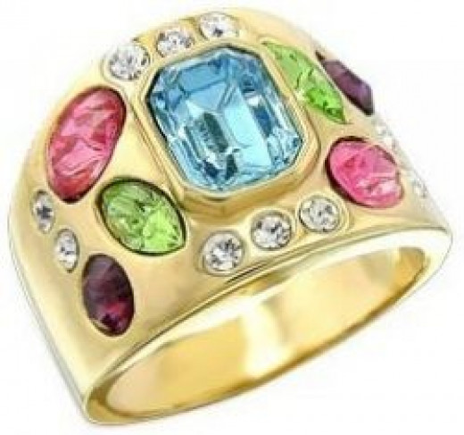 Women's Young Line Multicolor Swarovski Crystal Gold Tone Ring