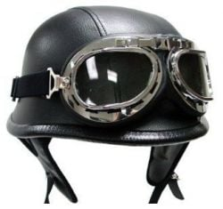 German Black Leather Motorcycle Biker Cruiser Scooter Touring Half Helmet