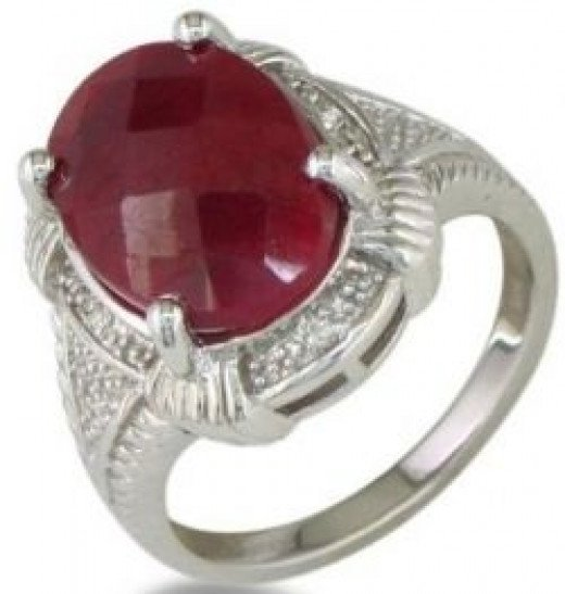 7ct Ruby Rough Cut Diamond Ring Set in Sterling Silver