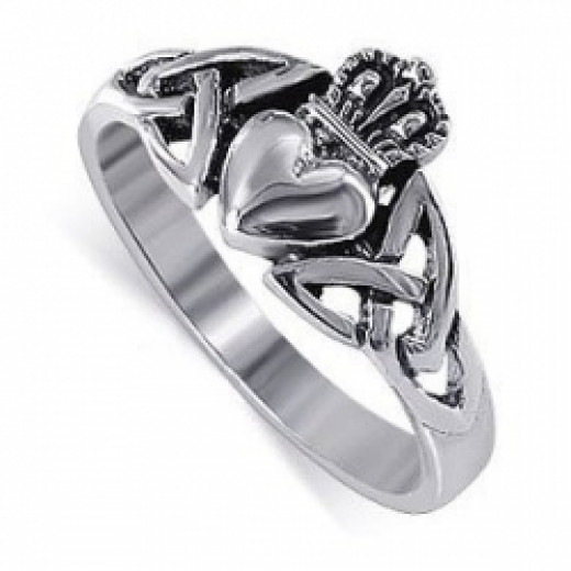 LWRS043-4 Nickel Free .925 Sterling Silver Irish Claddagh Friendship and Love