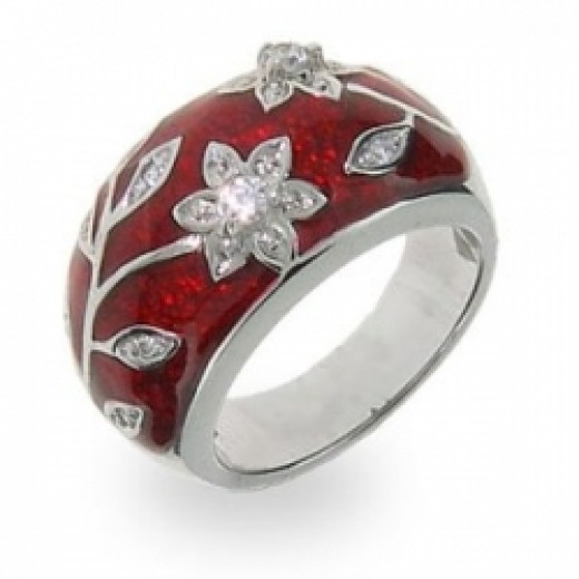 Ruby Red Enamel Ring with Vintage CZ Flower Design Size 5