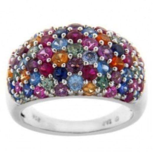 Sterling Silver Multi-Color Gemstone Cluster Ring, Size 8