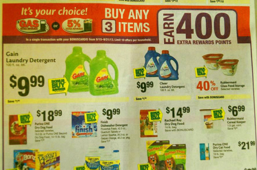 Special offer: 3 items for 400 gas points. I had coupons for the laundry soap.