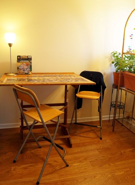 Drafting Table: Our dining/activity/kitchen garden area. Yes, that is a lemon tree and tomato plant.