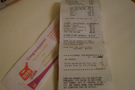 The special gas points earned receipt and a sample of a store receipt; gas points circled