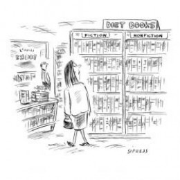 Woman walks by Diet Books section divided into 'Fiction' and 'Nonfiction.' - New Yorker Cartoon