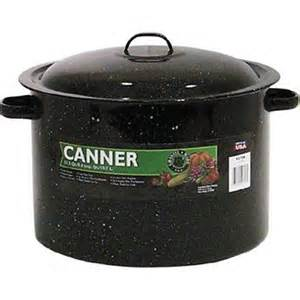 A standard 11 1/2 quart water bath canner, but any large stock pot works :-). Or, you can use a pressure canner if you have one. Yo9u can also buy complete water bath canning kits if you have never canned your own food before.