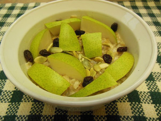 Pears and Raisins and Pumpkin Seeds Topping Hot Cereal